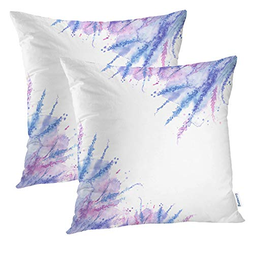 Batmerry Vintage Pillow Covers 18x18 Inch Set of 2, Purple and Lavender Lilacs On Vintage Double Sided Square Pillow Cases Pillowcase Sofa Cushion