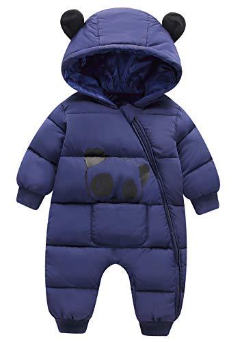 FEOYA Winter Jumpsuit Mantel Mädchen Junge Kapuze Dick Warme Schneekleidung Strampler Skifahren Neugeborene Daunenjacke Süß (Dunkelblau, 12-18 Monate/80)