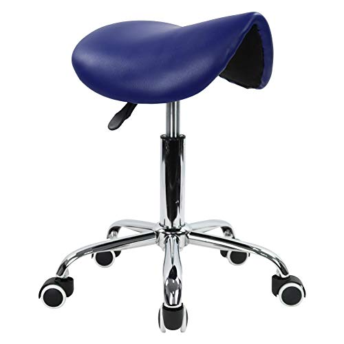 KKTONER Rolling Saddle Stool PU Leather Swivel Adjustable Rolling Stool with Wheels Salon Chair