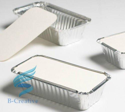 100 barquettes en aluminium + couvercles B-Creative No 6a, idéal pour usage domestique et pour plats à emporter à l'extérieur