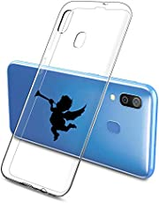 Suhctup Compatible con Samsung Galaxy A21S Funda Silicona Transparente con Dibujos Lindo Cárcasa Ultrafina Suave Gel TPU con Animados Diseño Patrón Antigolpes Proteccion Cover,Angelito 1