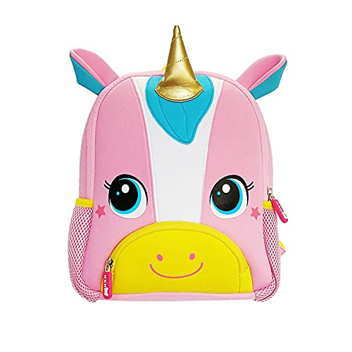 NOHOO Skin-friendly Waterproof Material Toddler Backpack ,Kindergarten Unicorn Backpack with Chest Clip, Gift for Ages 2-7(Pink Unicorn)
