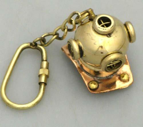 Asmara Nautisches Antik Messing Taucherhelm Mark V Deep Sea Tauchen Helm Schlüsselanhänger