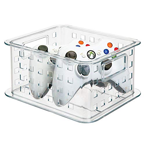 mDesign Caja plástico apilable para DVDs – También es perfecta como soporte para CD, videojuegos, Blu Ray - transparente