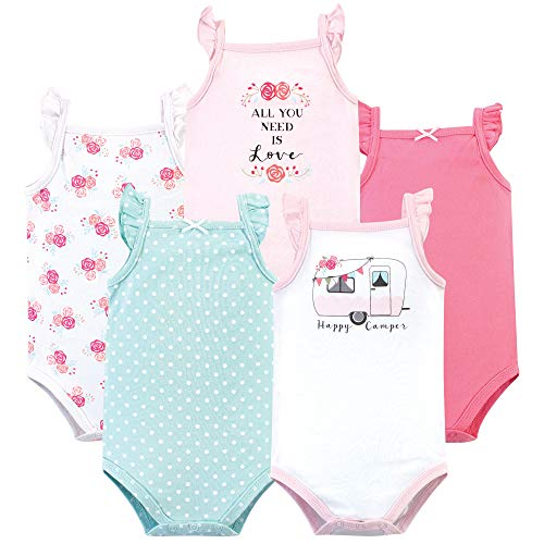 Hudson Baby Unisex Baby Cotton Sleeveless Bodysuits, Pink Happy Camper, 6-9 Months