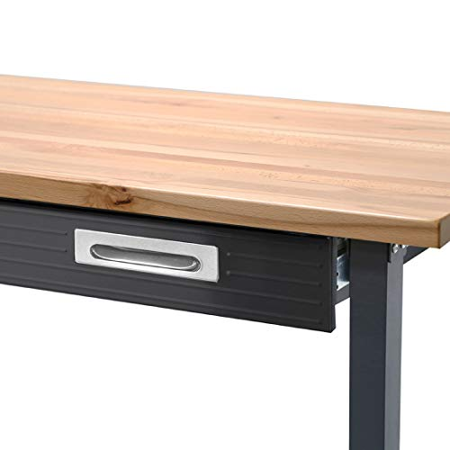 Seville Classics UltraGraphite Wood Top Workbench on Wheels with Sliding Organizer Drawer Table, 48