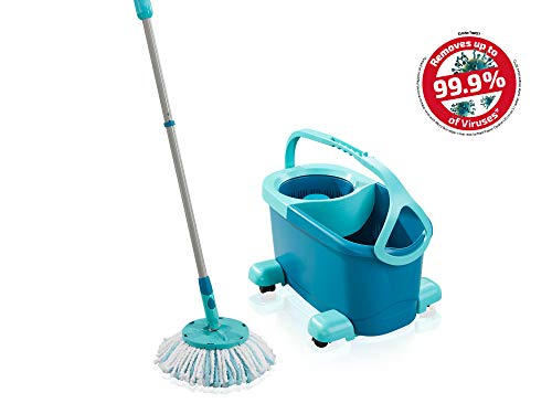 Leifheit Set Clean Twist Disc Mop Ergo Mop Pavimenti Turchese, Lavapavimenti Professionale Flessibile a 360°, Mop Rotante con Manico Regolabile e Rotelle