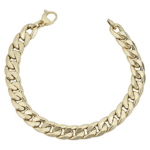 Kooljewelry Mens 14k Yellow Gold Cuban Curb Link Bracelet (9.2 mm, 8.5 inch)