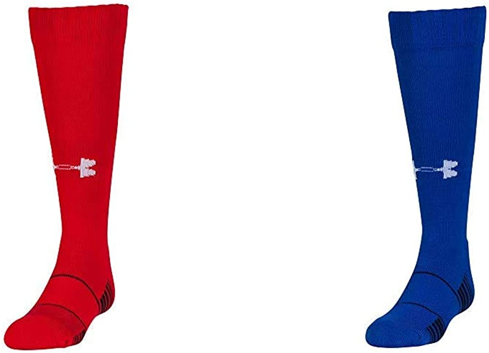 Under Armour Unisex-Child Team Over-The-Calf Socks, 1-Pair, Shoe Size: Youth 1-4, Red/White and Unisex-Child Team Over-The-Calf Socks, 1-Pair, Shoe Size: Youth 1-4, Royal/White