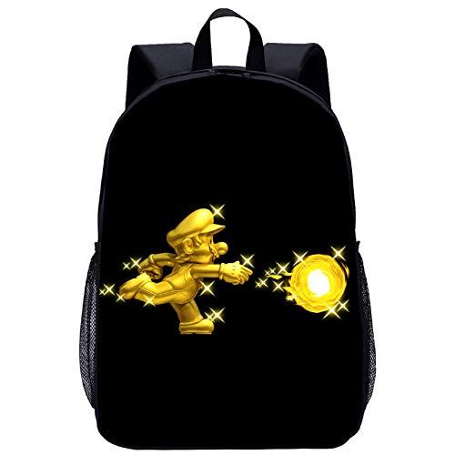 BATEKERYAS Negro 3D Super Mario Bros Diseño De Patrón De Dibujos Animados Mochila Escolar, Bolsa De Juguete, Bolsa De Almuerzo, Bolsa De Computadora