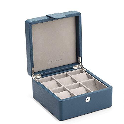 Jewelry Box 19 * 19.5 * 10cm Joyería de Madera Pulsera Colección Acabado de Acabado Caja de Madera Caja de Reloj Simple (Color: Negro) leilims (Color : Blue)