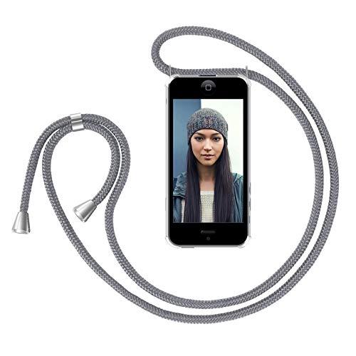 ZhinkArts Handykette kompatibel mit Apple iPhone 5 / 5S / SE (2016) - Smartphone Necklace Hülle mit Band - Handyhülle Case mit Kette zum umhängen in Grau