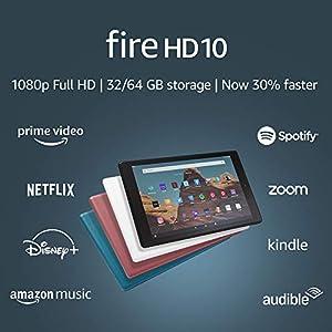 Fire HD 10 Tablet (10.1″ 1080p full HD display, 64 GB) – Black (2019 Release)