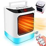 Calefactor bajo consumo pequeño. Mini Calefactor eléctrico de aire caliente para habitación o escritorio, 500W-800W, 2 velocidades, programable y luz ambiente LED, RGB.