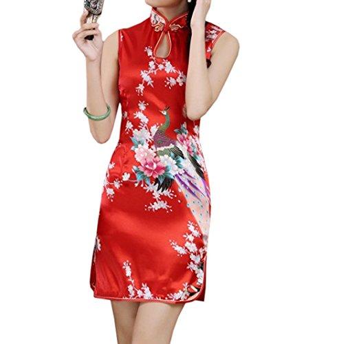 XueXian(TM) Mujer de Elegente Qipao de Estilo China con Sin Mangas(China XL/EU 40,rojo)