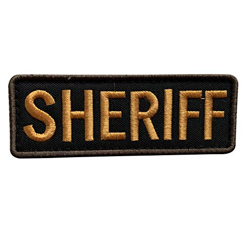 uuKen Regular Embroidery Cloth Fabric Sheriff Patch Black and Gold for Police Tactical Vest Jacket Uniform Plate Carrier Back Panel (Black and Yellow, Regular 4'x1.4')