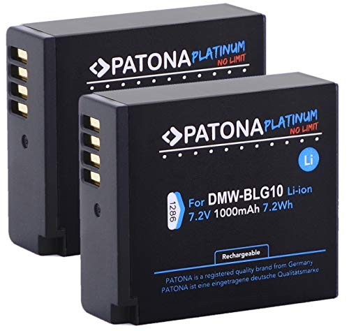 2X PATONA Platinum (1000mAh) - Ersatz für Akku Panasonic DMW BLG10 E - Für Panasonic Lumix DC GX9 TZ202 TZ96 TZ91 DMC TZ101 TZ81 GF6 GX7 GX80 LX100 S6 usw.