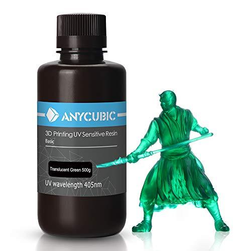 ANYCUBIC Stampate 3D UV Resina 405nm Fotopolimerica Rapida per Photon S Liquido 3D Resin Universale alta Precisione per Stampanti LCD/DLP/SLA 3D, 500ML Verde Trasparente