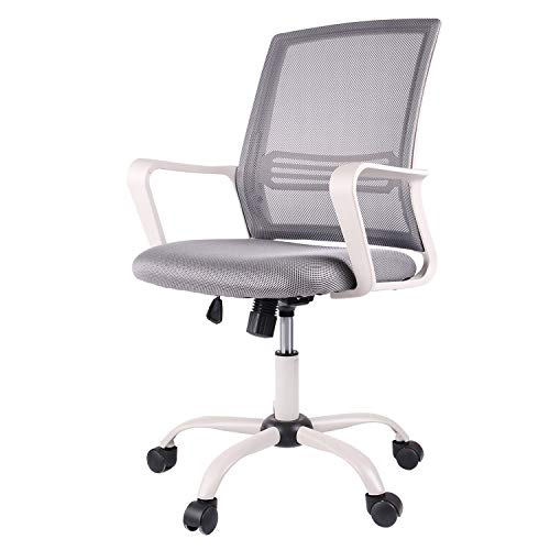 Ergonomic Office Chair, Mid-Back Computer Mesh Desk Swivel Task Chair with Armrests, Grey