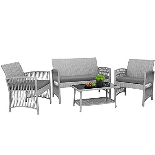 GARTIO Conjunto de Muebles de Jardín, Conjunto de Muebles de Ratán PE, con Mesa de Vidrio, 1 Sofá de Dos Plazas y 2 Sillones, con Cojines, para Jardín, Terraza y Balcón,Gris