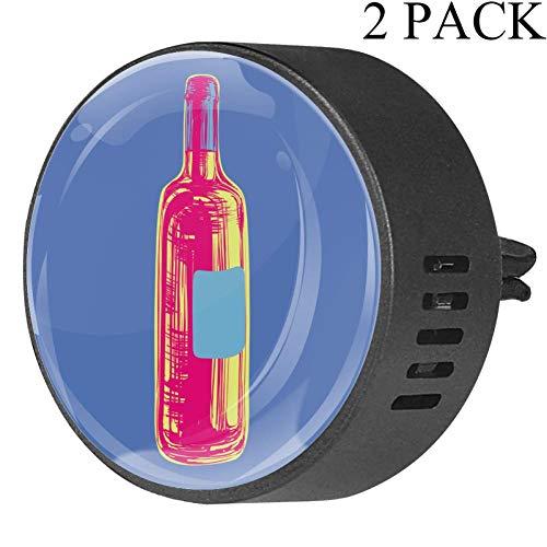BestIdeas 2 PCS Vent Clips Auto Luchtverfrisser met Pop Art Fles Blauw, Passie Fruit Bloemen Geur Aromatherapie Essentiële Olie Diffuser White Musk Pop Art Fles Blauw