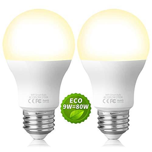 Fitop Alexa Glühbirnen Smart LED-Lampe E27, WLAN Glühbirne, Dimmbar, 9W 806LM Warmweiß Licht Kompatibel mit Alexa (Echo, Echo Dot) Google Assistant und Siri, Wifi Birne, kein Hub benötigt (2 Stück)