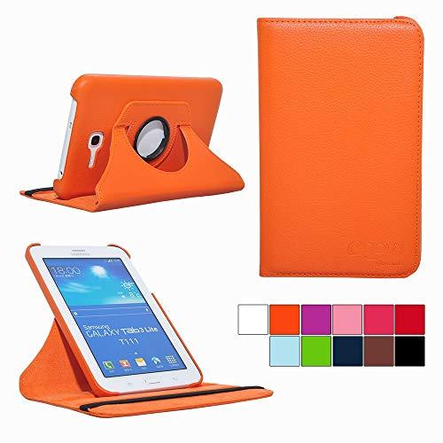 COOVY® Cover für Samsung Galaxy TAB 3 LITE 7.0 SM-T110 SM-T111 Rotation 360° Smart Hülle Tasche Etui Case Schutz Ständer   orange