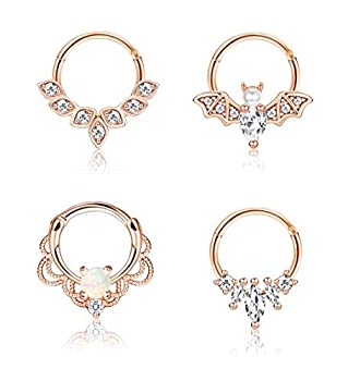 Drperfect 16g Septum Rings Cute Opal Cartilage Earrings Surgical Steel Nose Rings Hoop Tragus Helix Rook Daith Bat Jewels Centered Hinged Ring for Ear Nose Piercing Jewelry