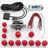GOZAR Arcade DIY Ersatzteil Set Kits USB Encoder Joystick Push-Buttons Für Windows Für Ps3 Für Die Ps4 Android System Smart Tv Tv-Box - Rot
