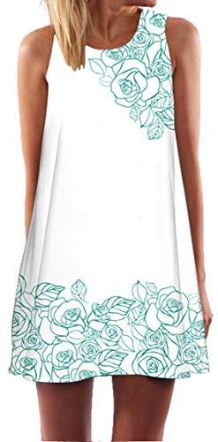 Ocean Plus Mujer Verano Flamenco Camisola Vestido De Playa Top Sin Mangas Trapecio O Corte En A Vestido Oeste (S (EU 34-36), Rosas Verdes)
