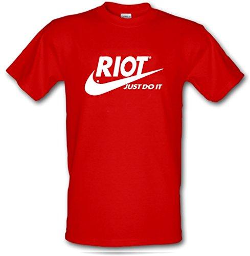 Preisvergleich Produktbild T-Shirt aus schwerer Baumwolle mit dem politischen Sloga: Riot Just Do It Gr. XL,  rot