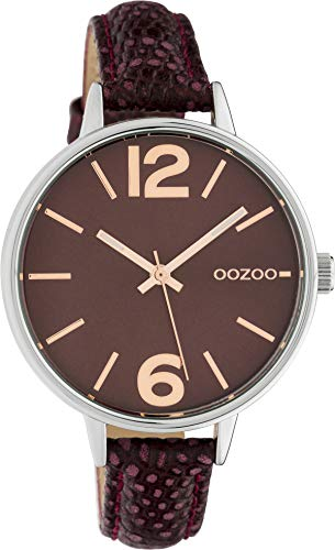 Oozoo Damenuhr mit Lederband 36 MM Weinrot C10457