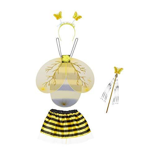 Relaxdays 10027925 Bijenkostuum kinderen, kinderkostuum met bijenvleugels, haarband, rok & toverstaff, bijenkostuum, zwart-geel, meisje