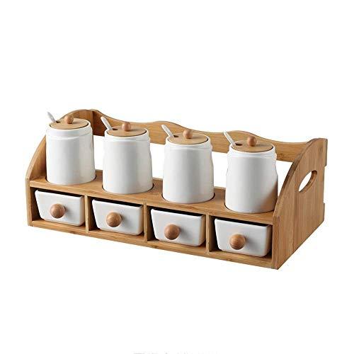 Botes para Especias novedosos Botellas botella condimento cajón Tipo de cerámica del condimento del pote del condimento conjunto, con estante de especia Conjunto for el almacenamiento de pimienta comi