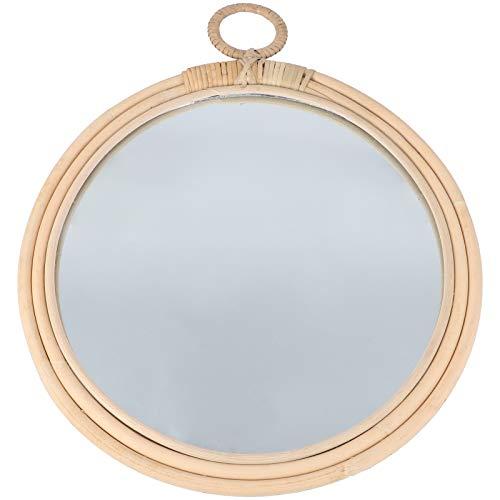 YARNOW Espejo de Pared Colgante de Madera Natural Espejo de