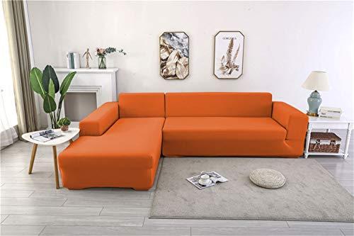 Icegrey 2 Stück L Form Sofabezüge Stretch Sofahusse Ecksofa Elastisch Antirutsch Eckcouch Sofa Überzug Couch Bezug Sofaüberwurf, 2 Sitzer + 4 Sitzer, Orange