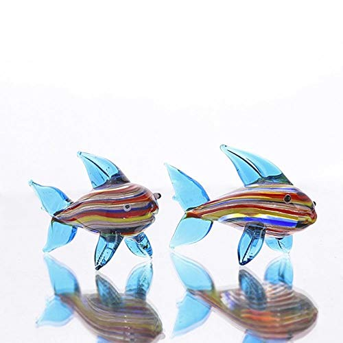 Kleurrijke haai glas beeldjes Home Decor Murano Artwork Crystal Miniture handwerk figuur Fish Tank Aquarium Decor, Set van 2, Type 2