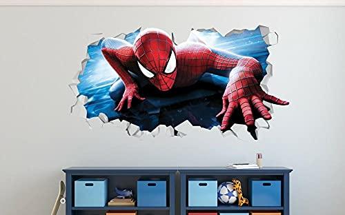 HQQPA Etiqueta de la pared 3D Smashed Wall Decal Gráfico héroe araña acción calcomanías de pared personalizadas arte