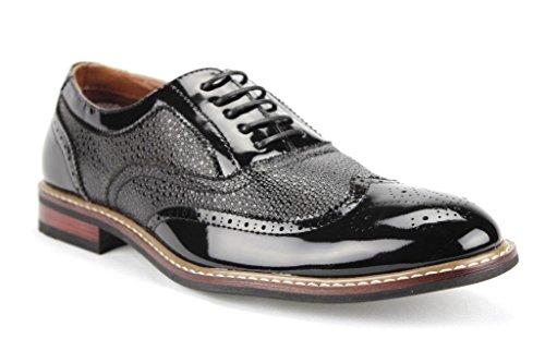 Ferro Aldo Men's 139001P Formal Wing Tip Patent Leather Dress Oxfords Shoes, Black, 10.5