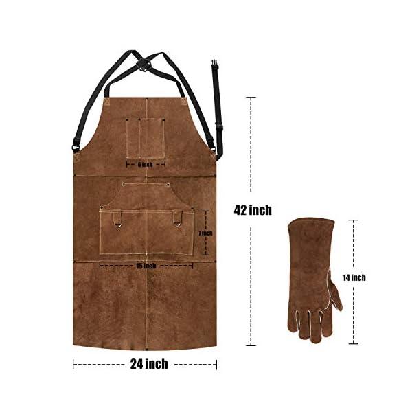 Eletecpro Leather Welding Apron & Gloves 4