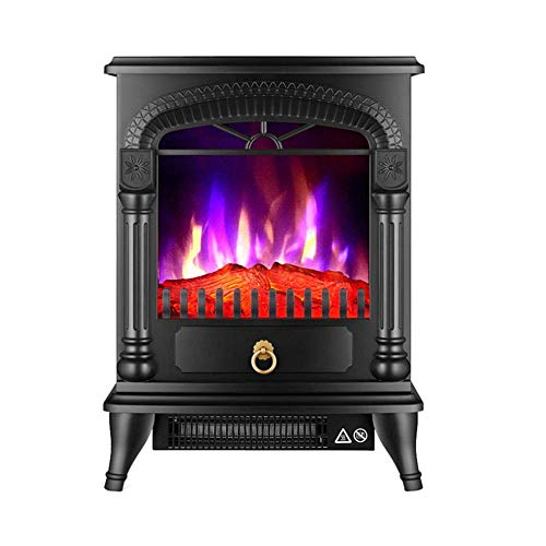YLJYJ Elektroherd 2000 W realistische 3D-Flammeneffekt Sicherheitsthermostat Kamin Heizung Holzflammeneffekt dreiseitiges Glas freistehend