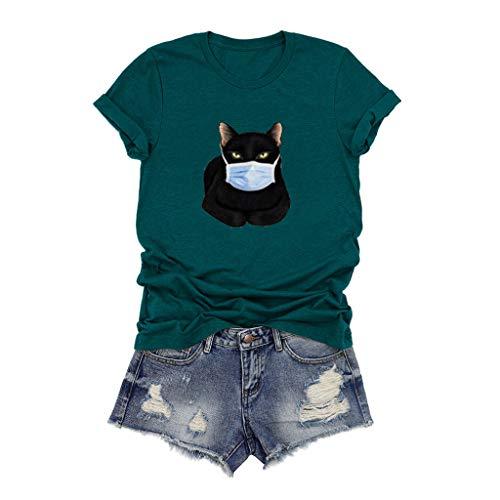 Andouy Damen Grafik T-Shirts Casual Kurzarm Rundhals Tops Stilvoll Bedruckte Bluse Oberteile(XL.Blau)