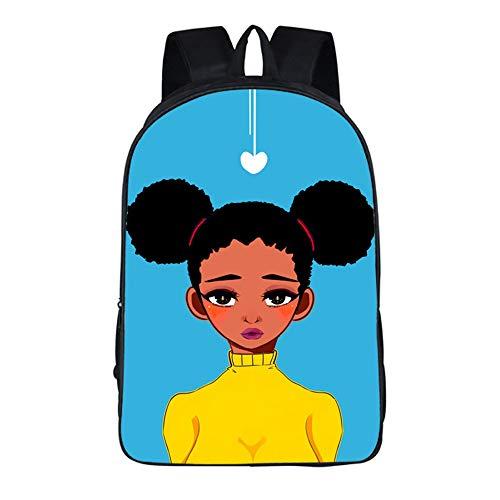 CJIUDI Black Skin Girl - C,Mochilas Escolares Ligero Luminoso con Diseño De Anime,Durable Impermeable Mochila para Adolescente/Chica/Muchacho/Infantil