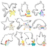 Bluelves Formine Biscotti di Unicorno, 10 Pezzi Formine per Biscotti Unicorno, Set di Taglierina Biscotto per Bambini, Stampi Biscotti Unicorno, Arcobaleno, Unicorno, Stella - Acciaio Inossidabile