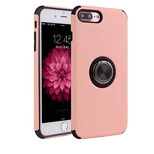for iPhone 7 Plus/8 Plus Case Hard Shell PC Soft TPU Military Grade Cover with Standing 360°Ring Grip for Magnetic Car Mount (Pink)