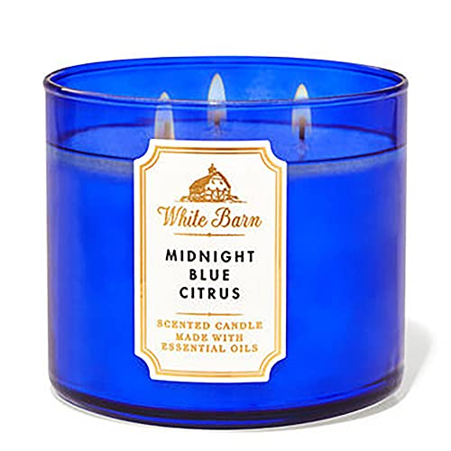 Bath and Body Works, White Barn 3-Wick Candle w/Essential Oils - 14.5 oz - 2021 Core Scents! (Midnight Blue Citrus)