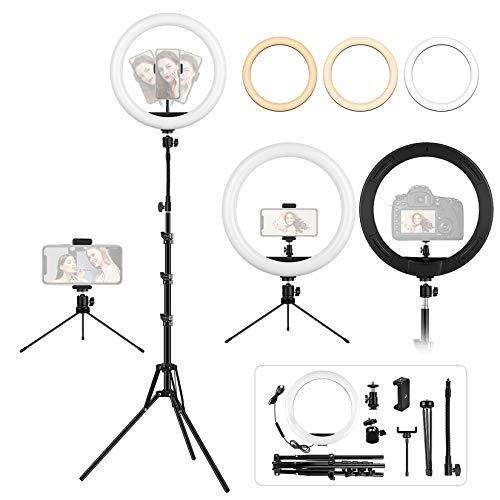 Luce Led Anulare con Stativo Treppiede,12' LED Ring Light Dimmerabile Selfie Light Kit con 3 Modalità Colore e 10 Luminosità, supporto telefonico, Alimentazione USB per Makeup/Video/Streaming