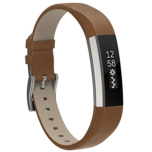 Henoda Replacemnt Leather Bands Compatible with Fitbit Alta/Fitbit Alta HR, Matte Brown Classic Genuine Leather Wristband, Small Large, No Tracker