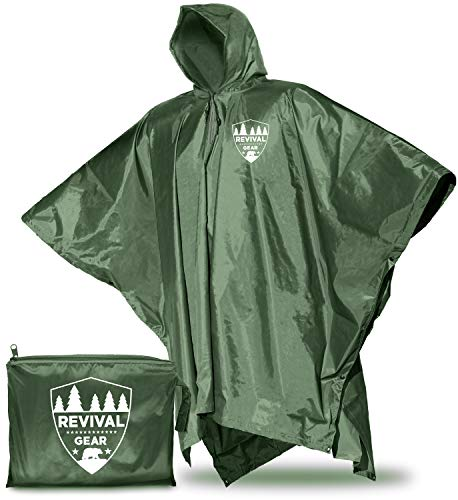Revival Gear Rain Ponchos for Adults - Waterproof Rain Jacket for Women Men & Kids - Camping Hiking Rain Gear with Hood (Green)