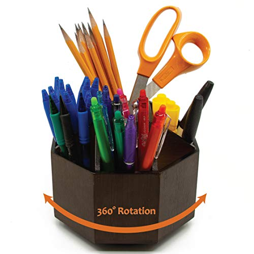 BlueBox Goods Bamboo Rotating Desk Organizer for Office Supplies, Wood Pencil Holder, School Supplies Organizer for Pens, Crayons, Paint Brushes, Arts and Crafts, 9 Sections, 360 Spin (Dark Chocolate)